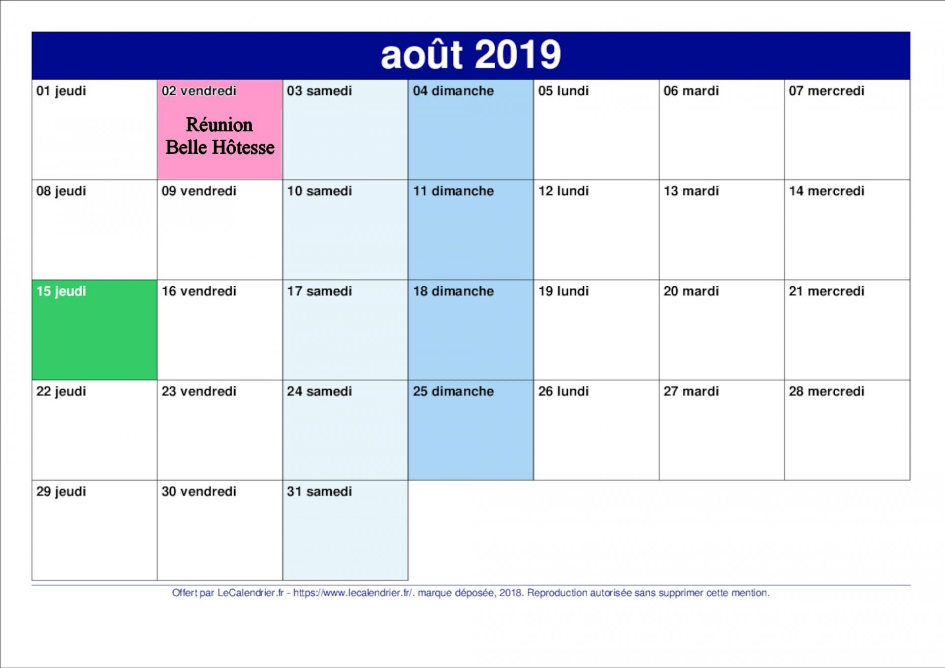 Calendrier aout 2019